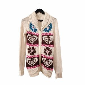 NWT Roxy Cream Snowflake Kisses Cardigan Sweater S